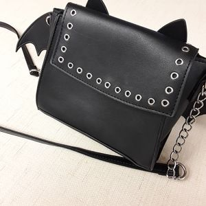 Goth Black Punk Boho Bat Purse Crossbody Bag